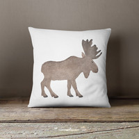 Woodland Moose Watercolor Throw Pillow
