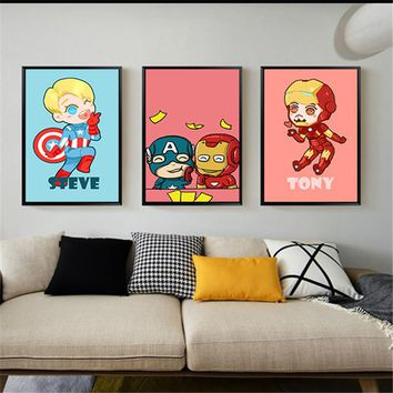 New arrival lovely cartoon hero Marvel movie poster for canvas painting cuadros decoration wall art pictures