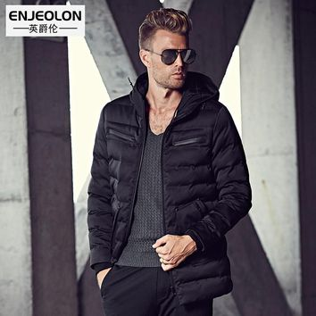 Cotton Padded Hooded Jacket Men windproof Parka Men Clothing Zipper Thick Quilted black Coat Men Hoodies