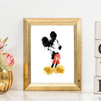 Printable art micky mouse, micky mouse watercolors, watercolors print,wall art,home decor,children room, disney watercolor, instant download