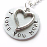 Love You Heart Necklace, Personalized Hand Stamped pendant