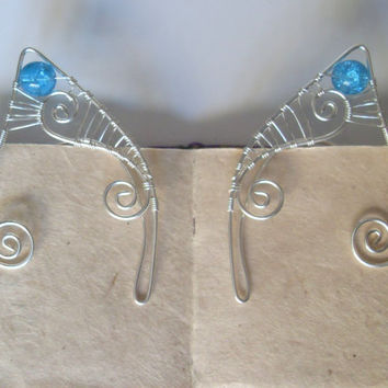 Silver Plated Handmade Wire Wrapped Cyan Blue Crackle Elf Ear Cuffs, Wire Weave, Spiral, Elven Ears, LARP, Fantasy Wedding