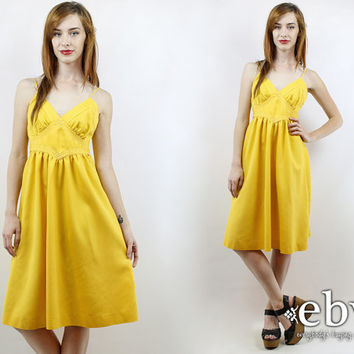 Vintage 70s Yellow Summer Dress XS S Yellow Dress 70s Sundress Babydoll Dress Hippie Dress Hippy Dress Festival Dress