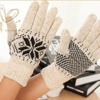 Winter Men Women Glove Warm Wool Knitted Wool Touch Gloves Snowflake Arm Wollen Witer Gloves