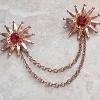 Rhinestone Sweater Guard Pin Rose Gold Tone Chatelaine Red Vintage 081715DU