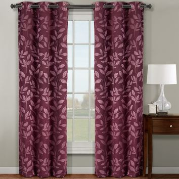 Burgundy Claire Pair ( Two Panels ) Micro Suede Jacquard Blackout by weave Grommet Curtain Panels