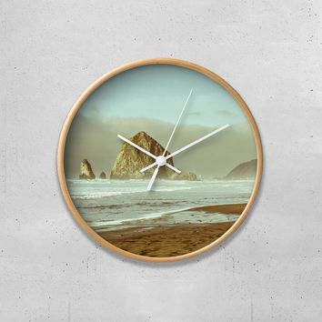 "Haystack Rock Oregon Coast 10"" Wall Clock"