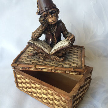 Monkey Trinket Box, Resin Cast Monkey, Book Reading Monkey, Basket trinket box, Monkey with Fez, Kitschy Monkey Decor,