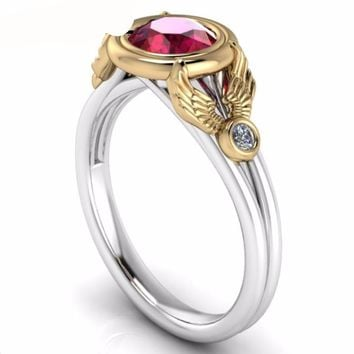 Gemstone Jewelry Wings Simulated Ruby Wedding Ring Solid 10k Two-tone Gold Engagement Ring Moissanites Lab Grown Diamond Ring