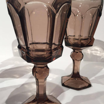 Brown Fostoria Virginia Wine Goblets, Set of 5 Vintage Brown Glass Wine Goblets, Wine Glasses Wedding Table