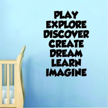 Play Explore Discover Quote Wall Decal Sticker Decor Vinyl Art Bedroom Baby Kids Children School Nursery Playroom
