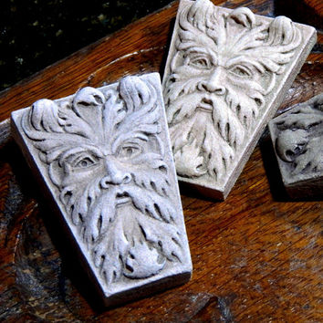 Green Man Keystones,  3 small hand cast sculpture based on architectural stone carvings, by Cast Shadows Studio
