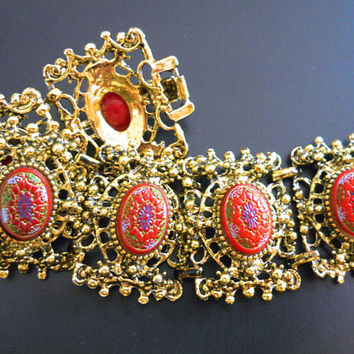 Victorian Revival Red Celluloid Bracelet, Ornate Moroccan, Molded Flowers, Vintage