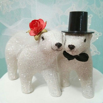 SALE NEW cutest OOAK polar bear wedding cake topper perfect for winter or christmas wedding