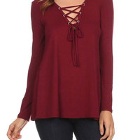 Long Sleeve Lace Up Tunic Top