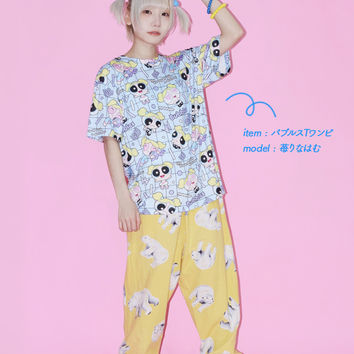 << 11/27 reservation start >> fashion dream cute bubbles blue light blue whole pattern ACDC RAG for 90s of bubbles T シャツパワーパフガールズグッズパワパフ T-shirt short sleeves Lady's men Harajuku origin
