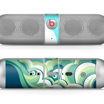 The Retro Blue Vintage Vector Wave Skin for the Beats by Dre Pill Bluetooth Speaker