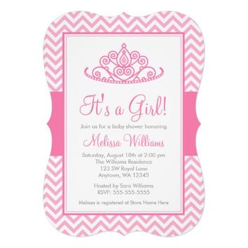 Pink Chevron Princess Crown Girl Baby Shower 5x7 Paper Invitation Card