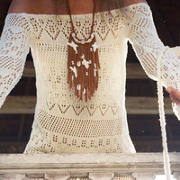 Cupshe Snow Flower Hollow Cover-up