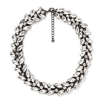 FOREVER 21 Marquise Rhinestone Statement Necklace Gunmetal/Clear One