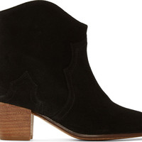 Black Suede Dicker Ankle Boots