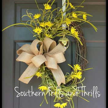 Floral Grapevine Wreath, Summer Wreath, Spring Wreath, Grapevine Wreath, Floral Wreath, Yellow Wreath, Outdoor Wreath, Door Wreath
