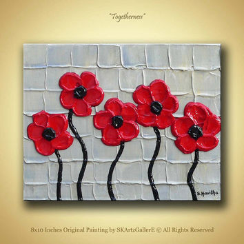 Red Flowers Painting, Original Artwork, Textured Modern art, Red Poppies artwork, Small canvas Painting, Red wall painting, Poppy wall art
