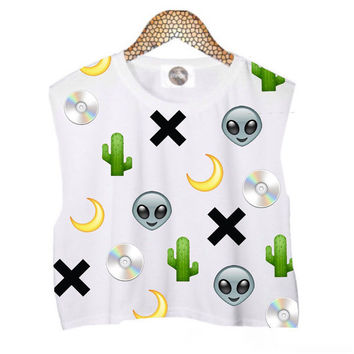 Alternative Emojis Sleeveless Crop Top