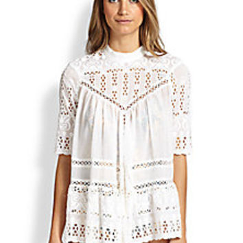 Zimmermann - Paneled Eyelet Smock - Saks Fifth Avenue Mobile