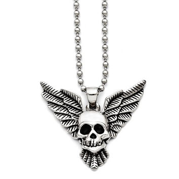 Stainless Steel Antiqued Skull With Wings Polished Necklace