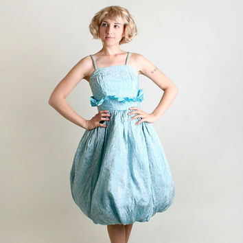 1960s Party Dress - Vintage Powder Blue Floral Brocade Teardrop Skirt Dress - Small Medium