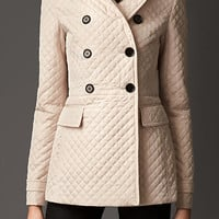 Slim Fit Quilted Pea Coat