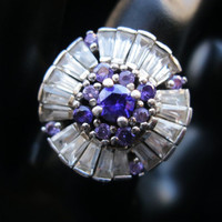 Vintage Art Deco Amethyst Rhinestone CZ Baguette Ring Sterling Silver Amethyst  February Birthstone Jewelry Free Domestic Shipping