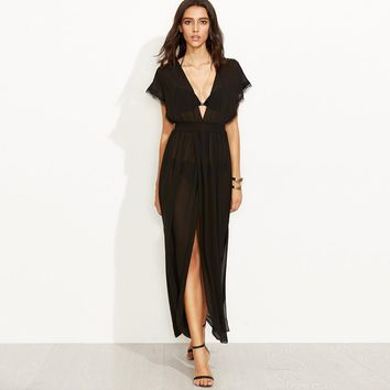Chicloth See-through Black Beach Dress
