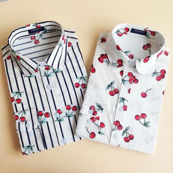 ESBONHS 19 Colors Floral Long Sleeve Vintage Blouse Cherry Turn Down Collar Shirt Blusas Feminino Ladies Blouses Womens Tops Stylish