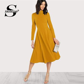 572c924684 Sheinside Plain Fit and Flare Elegant Midi Dress Office Ladies M