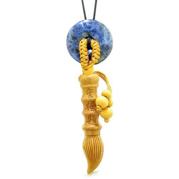 Magic Wand Feng Shui Car Charm or Home Decor Sodalite Donut Protection Powers Lucky Blessing