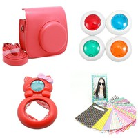 MINILUJIA for Instax Mini 8 Instant Film Camera Accessories Bundles Set- Color (red)