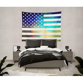 American Flag Wild and Free Tapestry Wall Hanging Meditation Yoga Grunge Hippie Wanderlust
