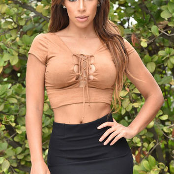 Brown Lace Up Front Faux Suede Crop Top