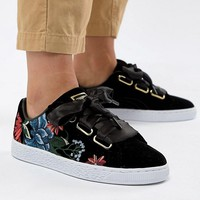 Puma Basket Heart Sneakers With Embrodiery at asos.com