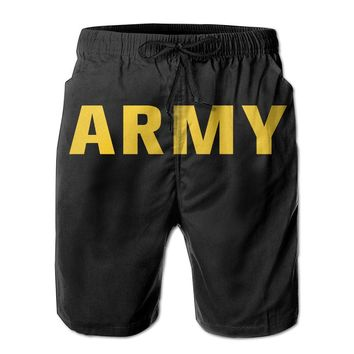 Gold ARMY Logo Military Sign Mens Fashion Casual Beach Shorts