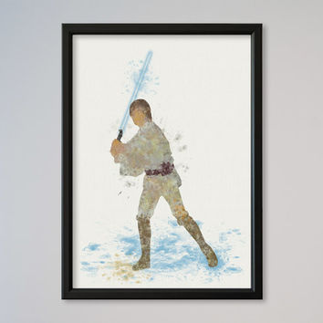 Star Wars Poster Luke Skywalker Watercolor Print Wall Decor Fine Art Giclee Wall Hanging Watercolor Jedi Knight Luke New Hope