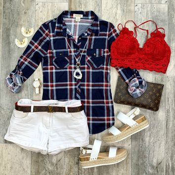 Penny Plaid Flannel Top: Navy/Red