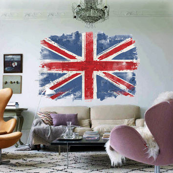 UK Flag Watercolor, decal for housewares