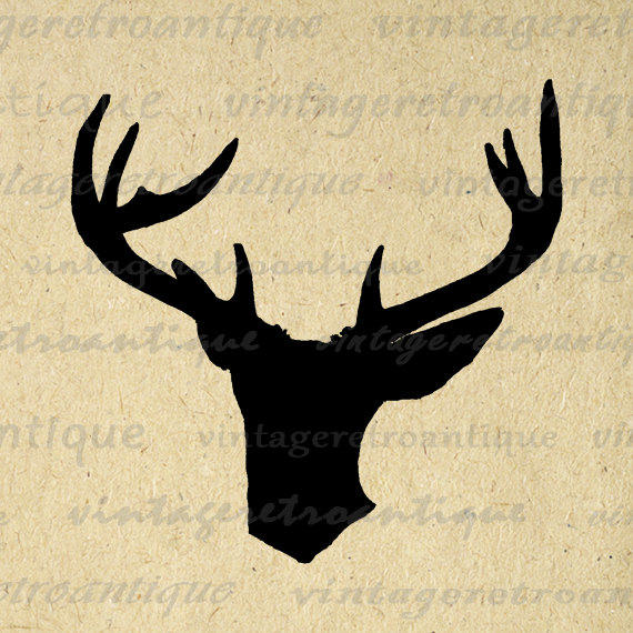 Deer Silhouette Image Graphic Digital Buck Antlers Illustration Printable Download Vintage Clip Art for Transfers etc HQ 300dpi No.3363