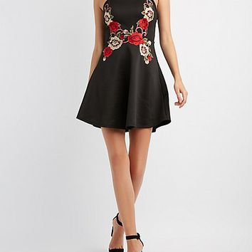 Embroidered Bib Neck Skater Dress