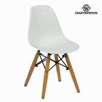 White and beech wood child's chair by Craftenwood