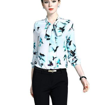 New High Quality Silk Women Blouses Luxury Bow Collar Elegant Work Wear Formal Natural Silk Tops
