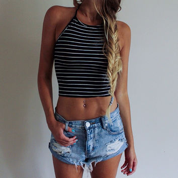 Bralette Beach Comfortable Sexy Summer Hot Spaghetti Strap Tops Stylish Stripes Vest [4970305092]